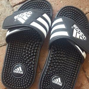 Boys size 3 Adidas slip on flip-flops